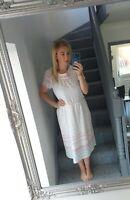 WOMENS VTG RETRO WHITE ABSTRACT SPOTTY USED SUMMER FLOWY 80'S DRESS UK 14
