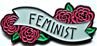 FEMINIST FLOWER BANNER PIN ENAMEL BADGE BROOCH PIN WEDDING PARTY JEWELRY