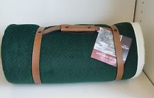 BERKSHIRE Shetland BLANKET Herringbone THROW Green NAVY White 50 x 60 Polyester