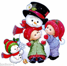 "6"" PRECIOUS MOMENTS BOY SNOWMAN CHRISTMAS HOLIDAY WINDOW CLING DECAL CUT OUT"