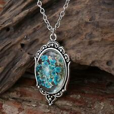 Fashionable Blue dried Flowers Clear pendant Necklace Chain Women's Jewelry