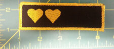 New Sew On Patch - Two Hearts - Black with gold color stitching