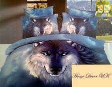 Brave Blue Wolf 3D effect Double Size Duvet Cover Bedding Set 100%Cotton UK size