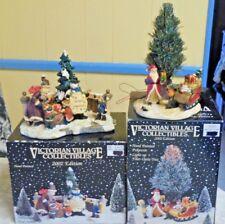 2 Victorian Village 2002 Edition Snowman & Santa Plus Fiber Optic Tree