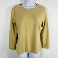 Talbots Petites Womens Top Sz PM Tan Long Sleeve Round Neck Casual Classic F47