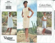 VOGUE 1591 AMERICAN DESIGNER Calvin Klein DRESS Semi-Fitted Sew Pattern UNCUT