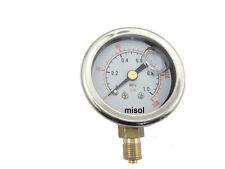 "Manometer Pressure gauge 140 PSI 10 Bar brass bar, Radial connection, BSP 1/8"""