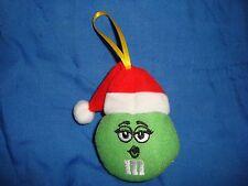 M&M's Green wearing Santa Hat 2012 Plush Ornament