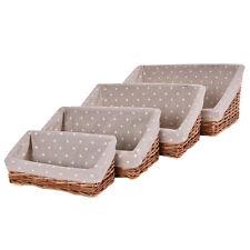 Set Of 4 Hand-woven Wicker Willow Storage Baskets Nesting Organizer w/ Lining
