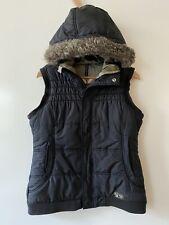Burton DryRide Puffer Vest Womens Black Snowboard Ski Faux Fur Hood Sz Large