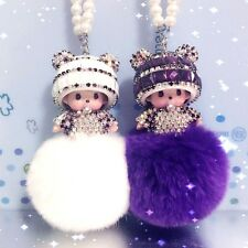 New Crystal Monchhichi Pearl Chain Car Hanging Pendant Ornament Car Accessories