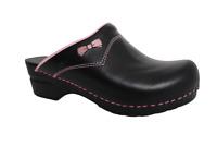 Sanita Women's Black/Pink Bow Slip On Leather Professional Mules Clogs Size 38