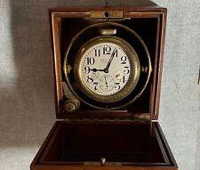 ANTIQUE WALTHAM 8 DAY  MARINE CHRONOMETER In  GIMBALED MAHOGANY BOX