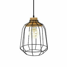 Modern Cafe Industrial Wood Timber Black Iron Cage Hanging Ceiling Pendant Light