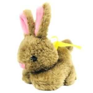 "Russ Berrie Mini Bunny Rabbit 3.5"" Plush Item 232 Brown Pink Ears Vintage Lovey"