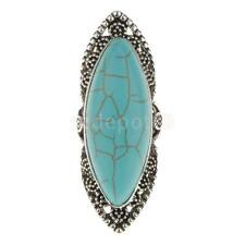 Vintage Bohemian Turquoise Long Finger Ring Antique Silver Carved Women Ring