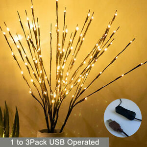 UK Christmas 60 LED Branch Twig Lights Bulbs Willow Branches USB Plug-in Decor