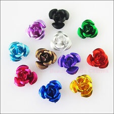 150Pcs Mixed Aluminum Beautiful Flower Spacer Beads Charms 8mm