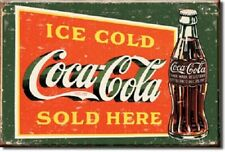 ICE COLD COCA COLA, COKE SOLD HERE, Green Retro Vintage Tin Sign Magnet Made USA