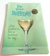 Used Vtg Greeting Card Anthropomorphic Olive Bouncing into Alcoholic Drink