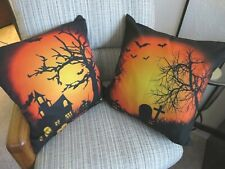 Halloween pumpkins and Bats Halloween two Cushion Covers 16x16