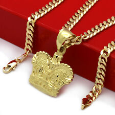 """Mens 18k Gold Plated  King Crown Royalty  Pendant 5mm 24"""" Cuban Necklace Chain"""