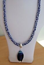 "A Dyed Agate Pendant on White & Blue Kumihimo 24"" Cord with Magnetic Clasp"