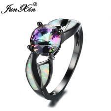 "Mystic Round Cut Rainbow Topaz Fire Opal Black Gold Wedding Ring ""US"" Size 5-11"