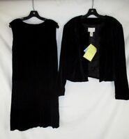 Susan Graver Women Stretch Velvet Sheath Dress Black XL Quilted Jacket CB95L NWT
