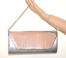 SAC POCHETTE femme GRIS Argenté clutch métallique chaîne argent handbag G54