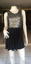 Unique Silver/Black With Sequins And Bow  Club/Party Mini Dress  Size 8-10