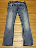 Rock And Roll Cowgirl Low Rise Thick Stitching Jeans Womens Size 33x34