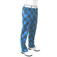 Blue Plaid Trews Tartan Golf Trousers By Royal And Awesome 30 - 44 Curling Pants
