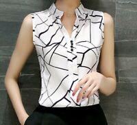 Women Blouse Top Casual Sleeveless White V Neck Fashion Chiffon Lady Shirt XXL