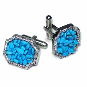 Silver-Tone CuffLinks Turquoise Color Stones Mens Cuff Links