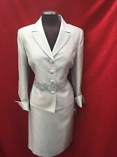 "KASPER SKIRT SUIT/NEW WITH TAG/SIZE 16/SILVER/LINED/SKIRT LENGTH 25""/"