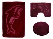 Badgarnitur 3 tlg. Delphin in weinrot Badvorleger WC Bezug Vorleger Stand WC