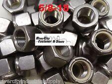 (6) 5/8-18 Stainless Steel Nylon Insert Lock Hex Nut  Fine Thread UNF 5/8x18