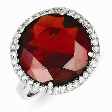 STERLING SILVER HALO SETTING RED STONE CZ COCKTAIL RING - SIZE 9