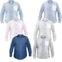 Cheap Men Denim Shirt Long Sleeve Collar Cotton Casual Shirts Top Dark WashS-4XL