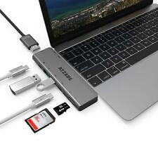 USB Type C Hub Dual USB-C Adapter 4K HDMI 60W Power Delivery SD Card Reader Mac