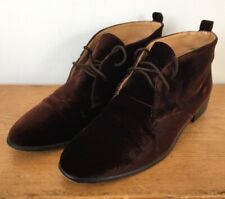 Vtg Ann Taylor Brown Velvet Leather Lace Up Chelsea Ankle Boots Womens 7.5M 38