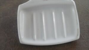 Vintage White Ceramic Soap Dish Tray Holder Small w/ metal mount bracket