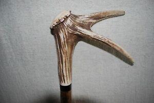 Red Deer Antler Double Point Coronet Hazel Walking Stick No.2