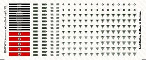 1/18 Scale Decals: WW2 German Patches on White Backing - Waterslide Decals