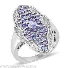 NIB $299.99 Size 9 Genuine Tanzanite (2.29 Cts) Ring in Platinum Overlay D-1