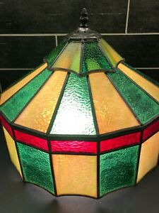 "VTG STAINED GLASS LEADED CEILING SLAG LAMP SHADE 16"" DIAMETER GREEN RED YELLOW"