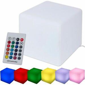 Outdoor Cube Garden LED Seat Light Color Changing mood Furniture Stool EU Plug