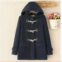 Retro Womens Wool Blend Hooded Mid Long Duffle Toggle Coat Outwear Overcoats New