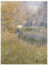 Kunstkarte: Anna Boch - Frau in Landschaft mit Sonnenschirm